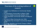 overviews of the evolving tradition of research