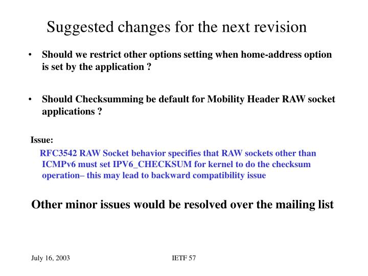 Suggested changes for the next revision