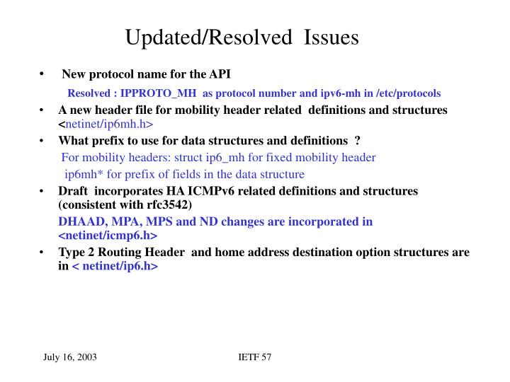 Updated/Resolved  Issues