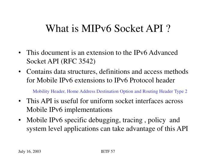 What is mipv6 socket api