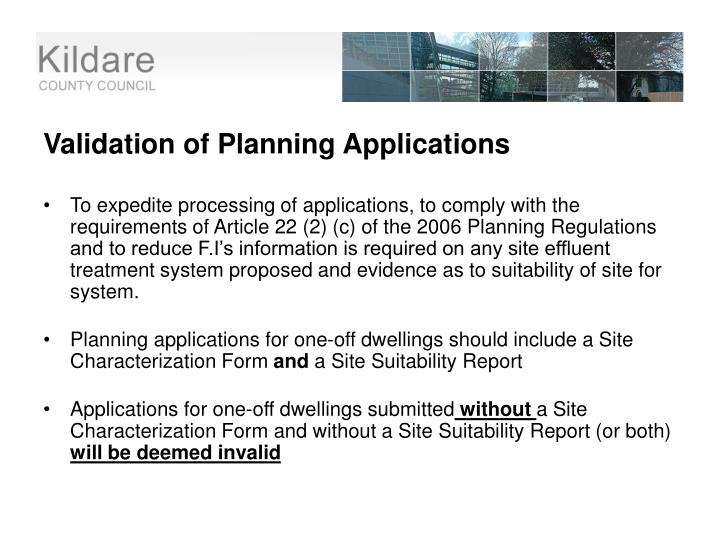 Validation of Planning Applications