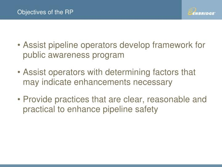 Objectives of the rp