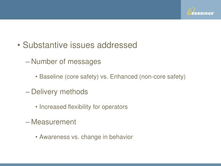Substantive issues addressed