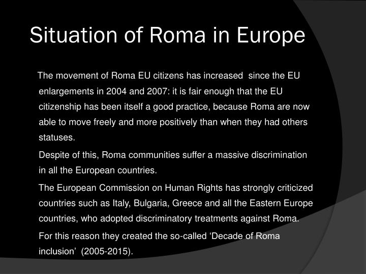 Situation of Roma in Europe