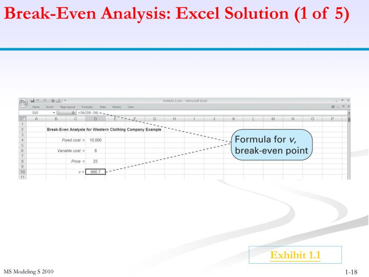 Break-Even Analysis: Excel Solution (1 of 5)