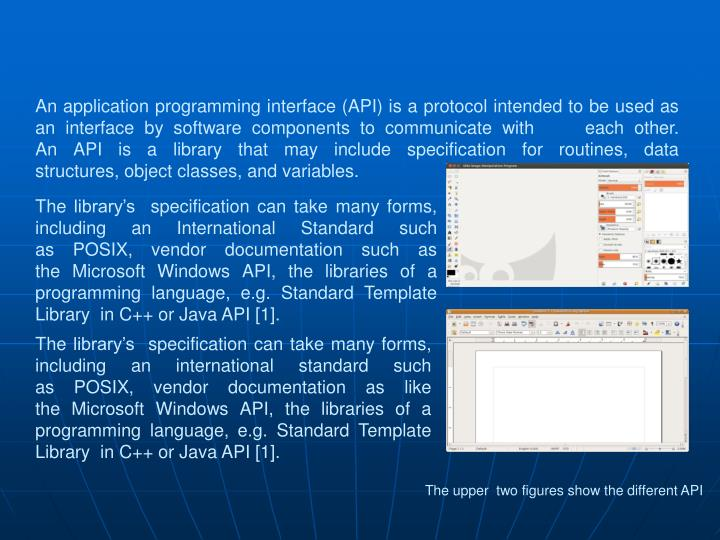 Anapplication programming interface(API) is aprotocol intended to be used as