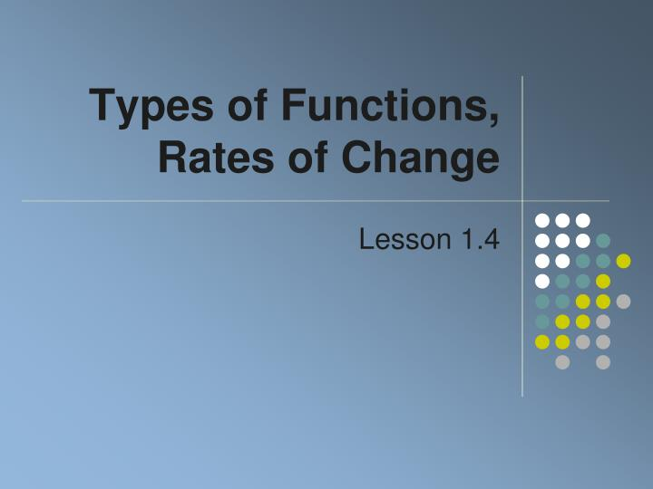 types of functions rates of change n.