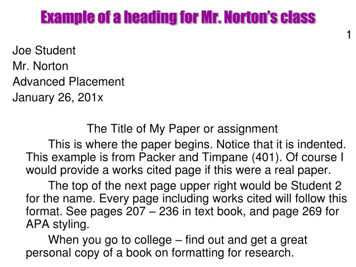 Example of a heading for Mr. Norton's class