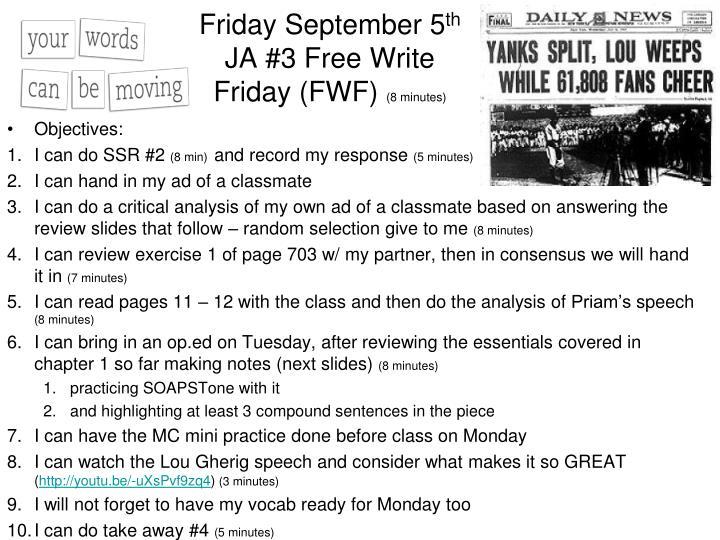 Friday September 5