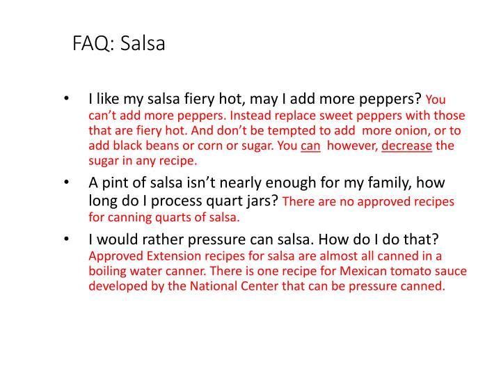 FAQ: Salsa