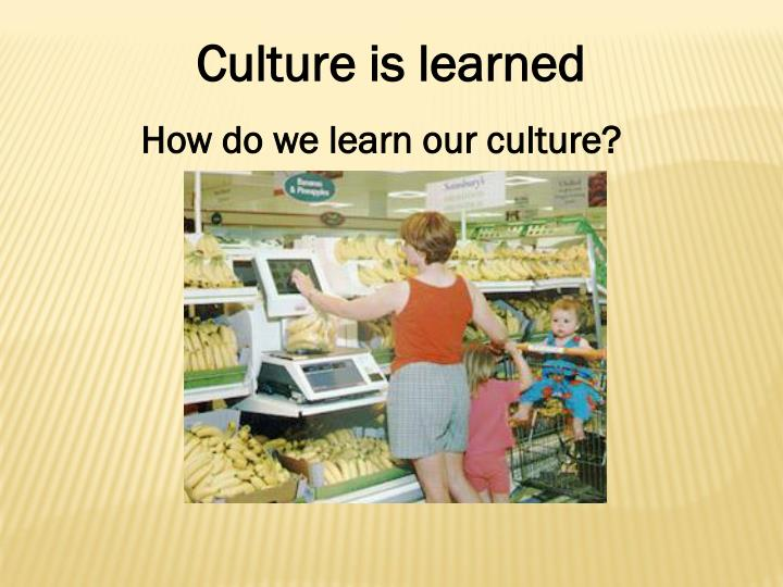 culture is learned Definition of culture: broadly, social heritage of a group it encompasses all learned and shared, explicit or tacit, assumptions, beliefs, knowledge.
