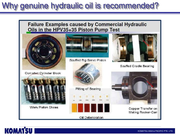 Why genuine hydraulic oil is recommended?