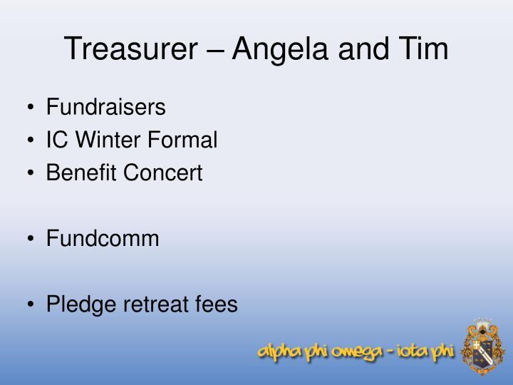 Treasurer – Angela and Tim