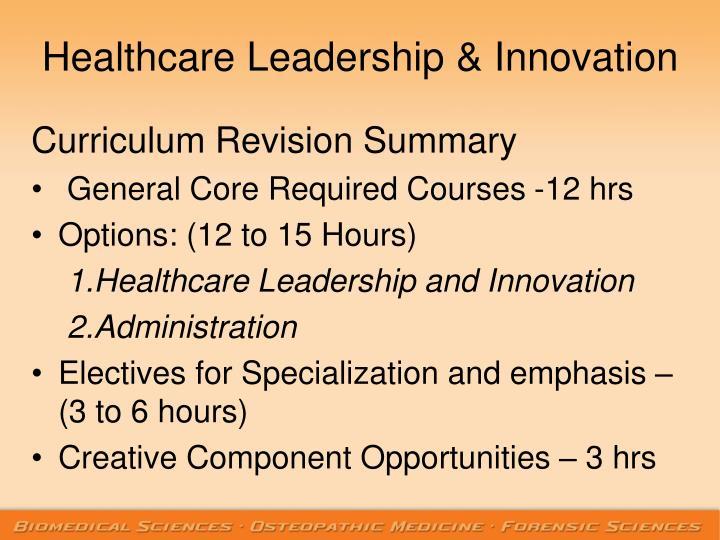 Healthcare Leadership & Innovation