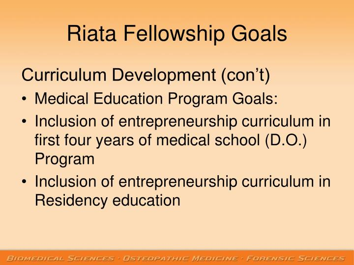 Riata Fellowship Goals