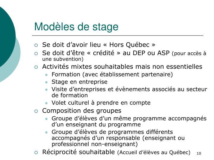 Modèles de stage