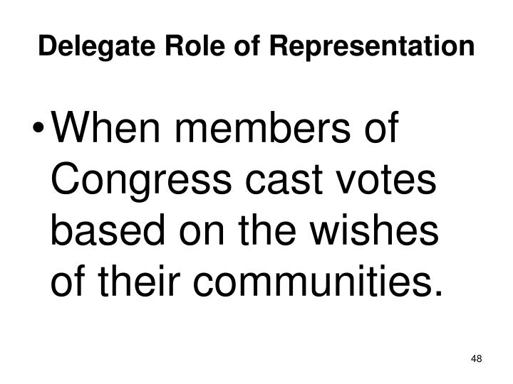 Delegate Role of Representation