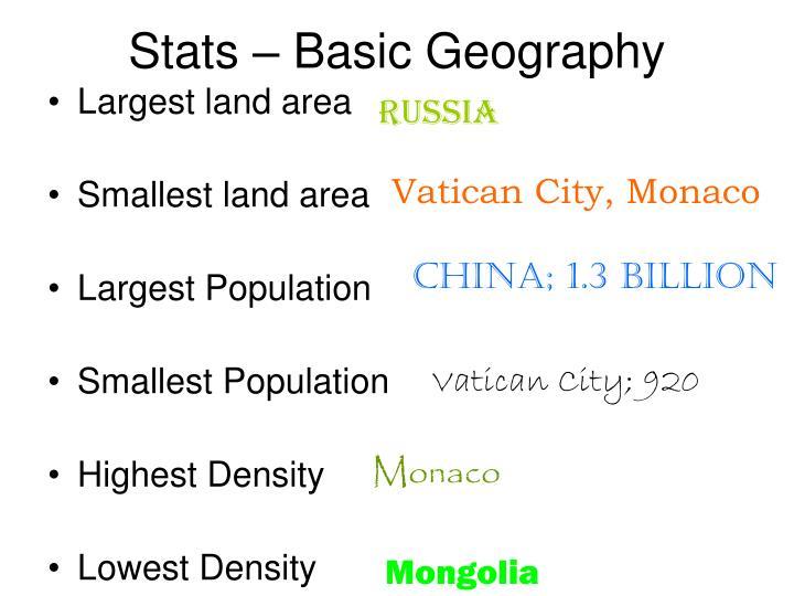 Stats – Basic Geography