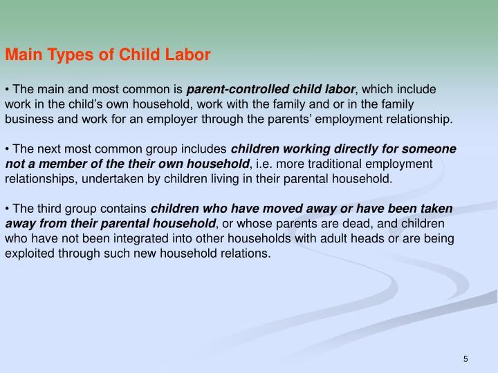 Main Types of Child Labor