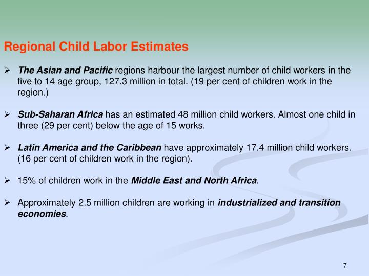 Regional Child Labor Estimates