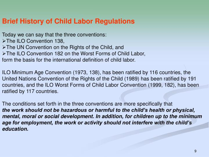 Brief History of Child Labor Regulations