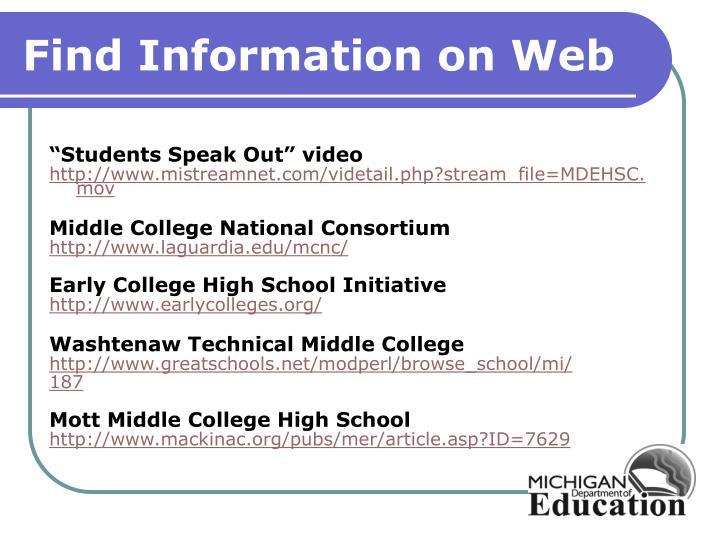 Find Information on Web