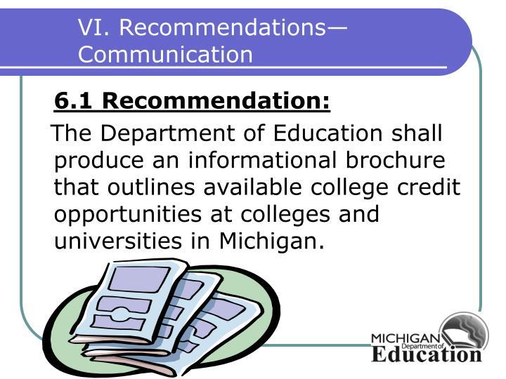 VI. Recommendations—Communication