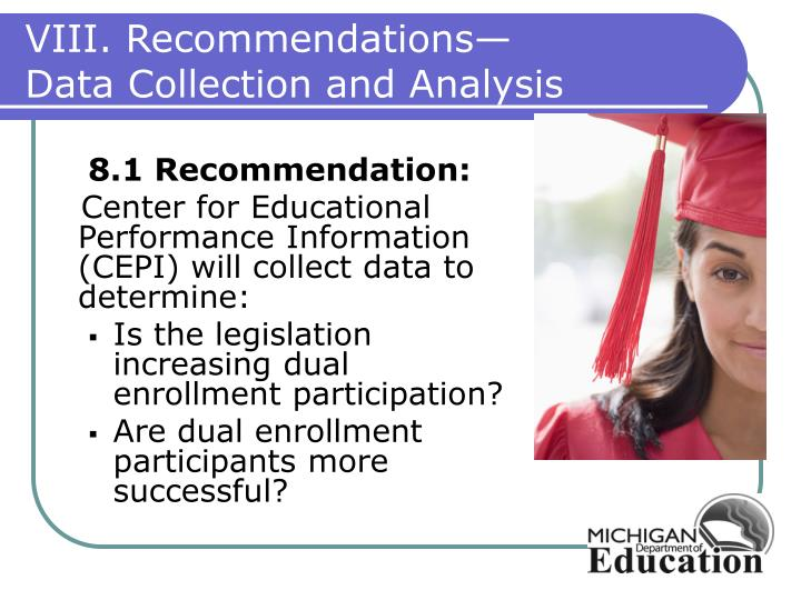 VIII. Recommendations—