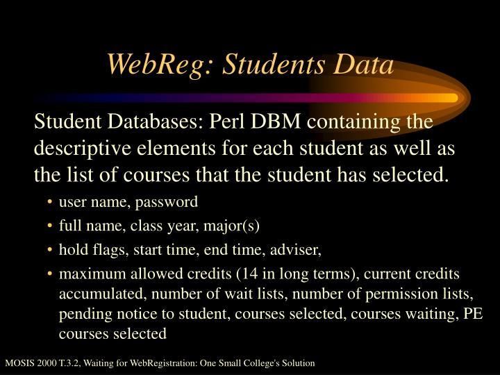 WebReg: Students Data