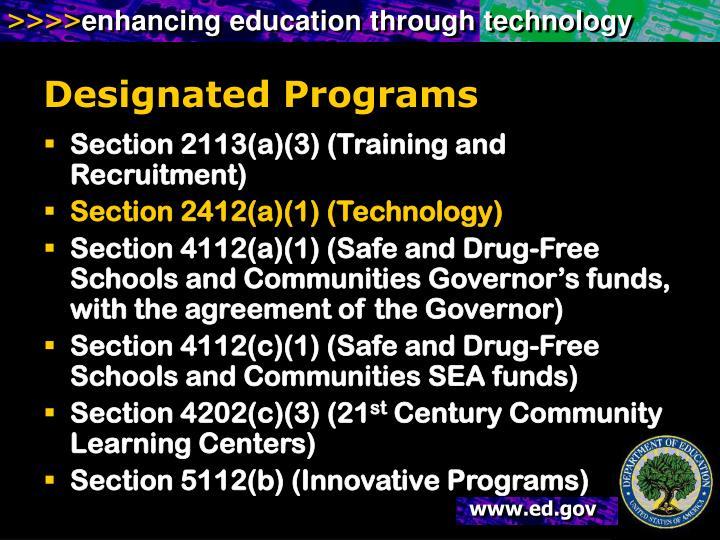 Designated Programs