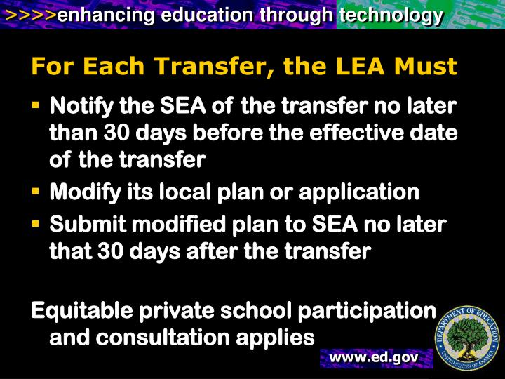 For Each Transfer, the LEA Must