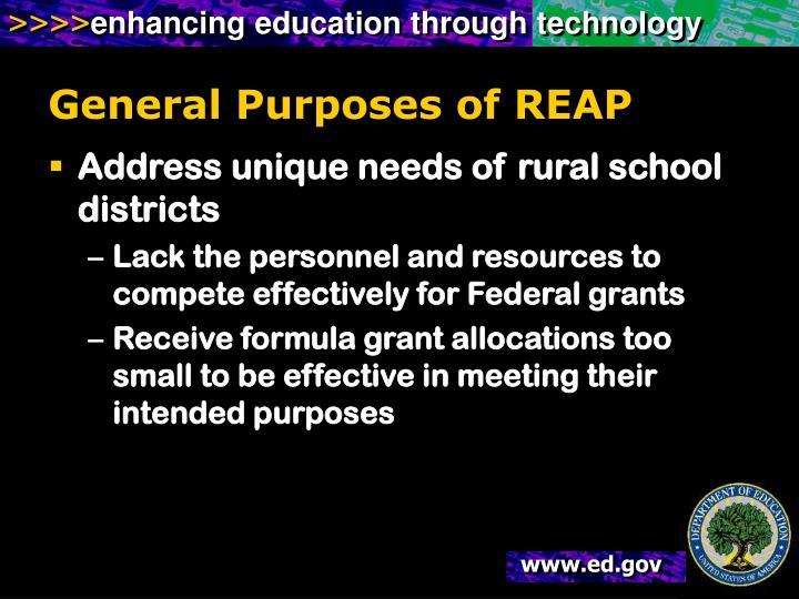 General Purposes of REAP