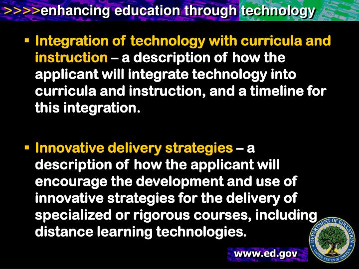 Integration of technology with curricula and instruction