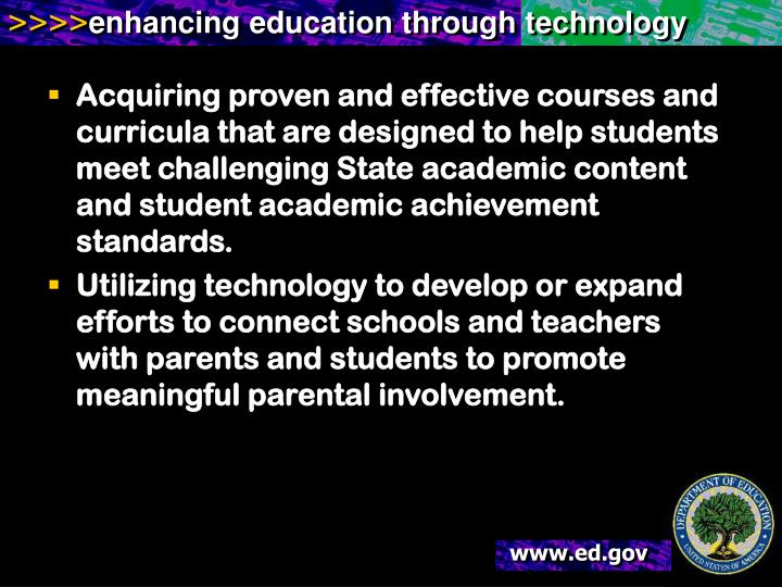Acquiring proven and effective courses and curricula that are designed to help students meet challenging State academic content and student academic achievement standards.