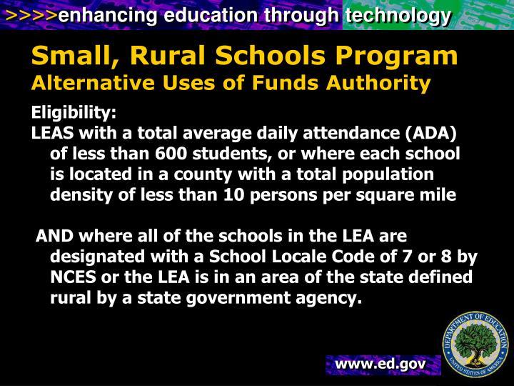 Small, Rural Schools Program