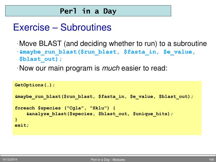Exercise – Subroutines