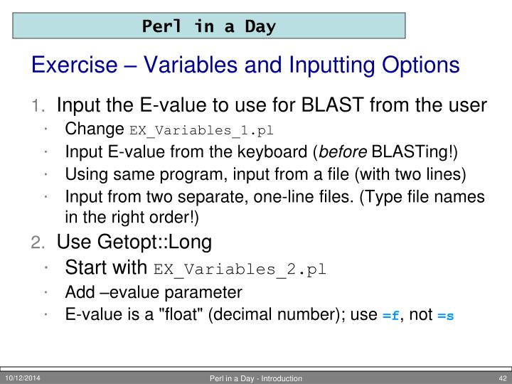 Exercise – Variables and Inputting Options