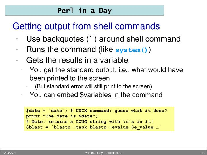 Getting output from shell commands
