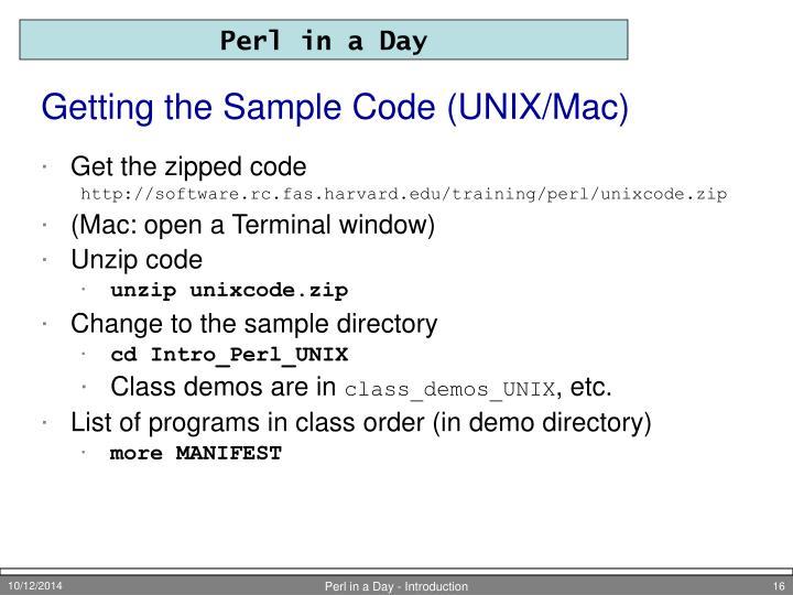 Getting the Sample Code (UNIX/Mac)