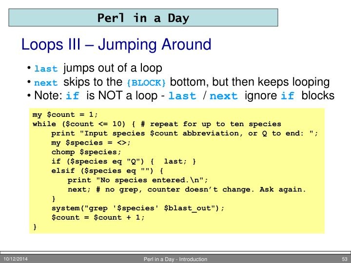 Loops III – Jumping Around