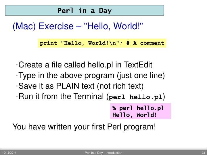 "(Mac) Exercise – ""Hello, World!"""