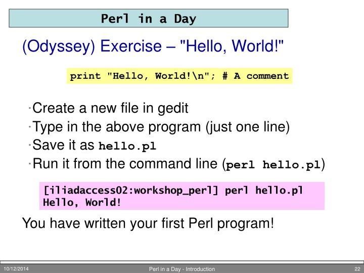 "(Odyssey) Exercise – ""Hello, World!"""