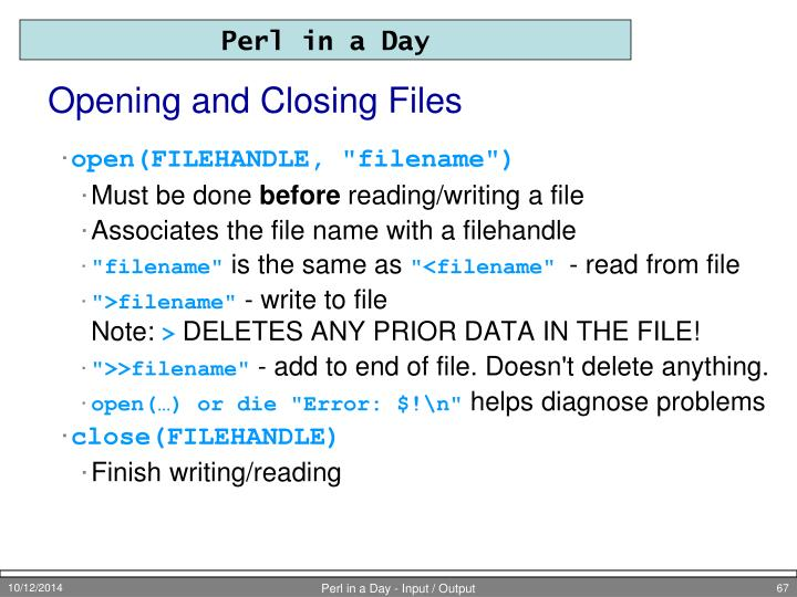 Opening and Closing Files