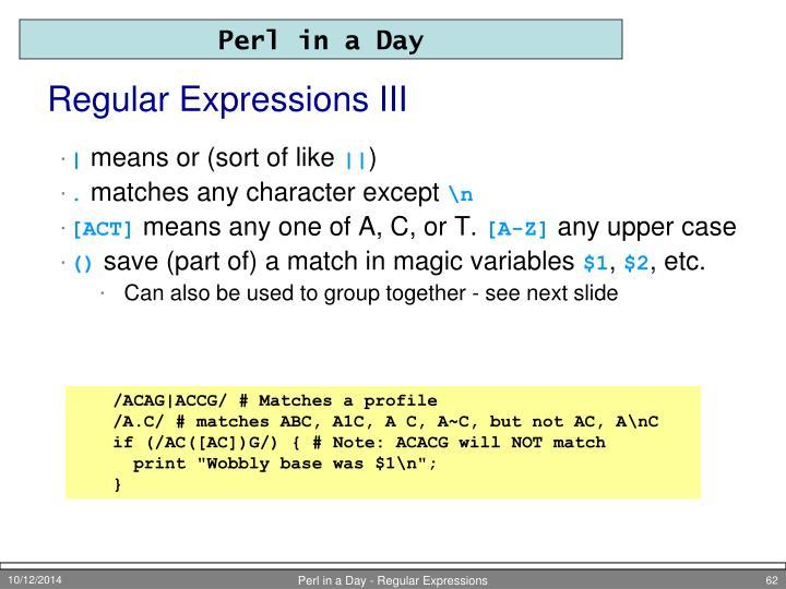 Regular Expressions III