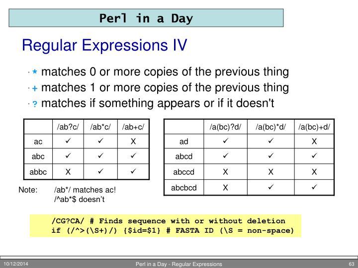 Regular Expressions IV