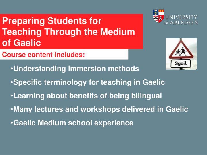 Preparing Students for Teaching