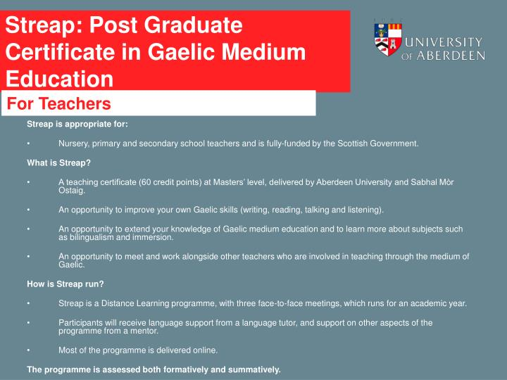 Streap: Post Graduate Certificate in Gaelic Medium Education