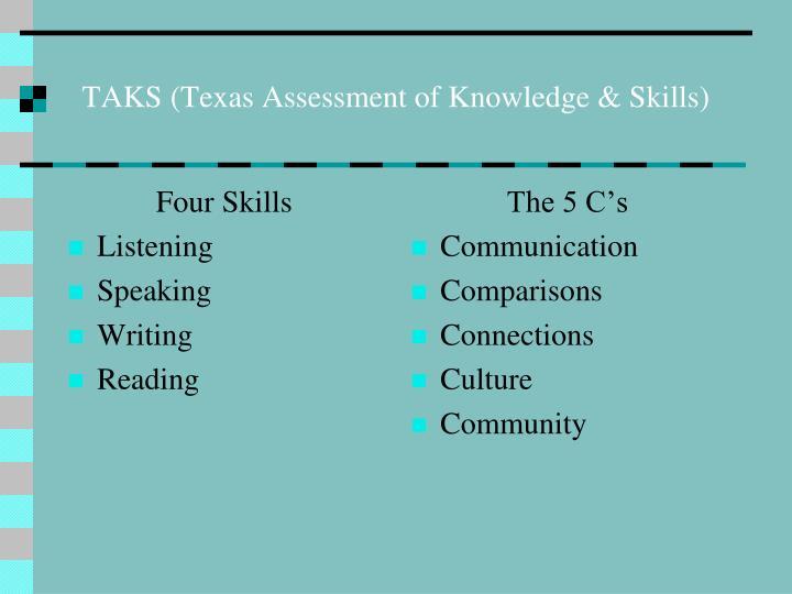 Taks texas assessment of knowledge skills