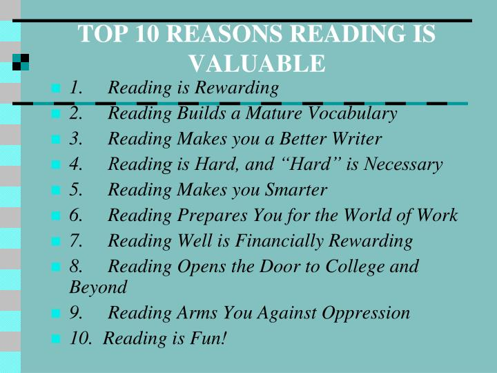 TOP 10 REASONS READING IS VALUABLE