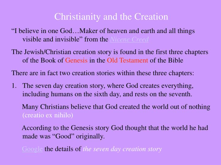 Christianity and the Creation